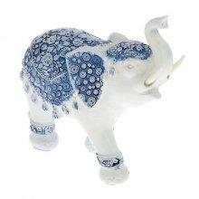 "Сувенир ""Индийский слон в синей попоне с белыми узорами"""