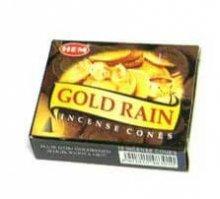 Благовония HEM Золотой дождь (GOLD RAIN), 10 конусов