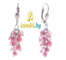 Серьги Висячие розовый агат с хрусталем